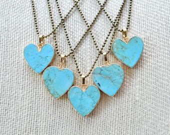 Gold Turquoise Heart Stone Brass Necklace/ Gemstone Turquoise Pendant/ Mixed Metal Bohemian Delicate Gem Mineral Stone (NBG26)