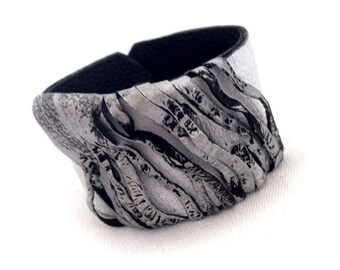 50% OFF SALE Women's wide Leather bracelet Cuff in silver and white color Casual wristband Leather jewelry