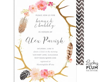 Brunch and Bubbly Invitation / Boho Bridal Shower Invitation / Deer Feather Bridal Shower Invite / Bridal Shower Invitation / Digital