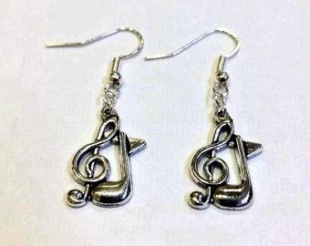 Music Earrings - Musical Earrings - Silver Musical Earrings