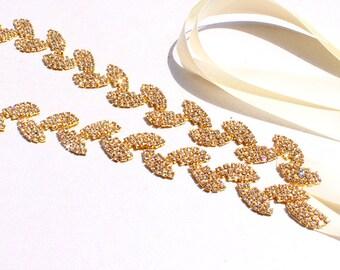 SALE Gold Bridesmaid Belt Wedding Dress Belt Thin Gold Bridal Belt Gold Leaf rhinestone sash belt Gold Leaf Rhinestone  Gold wedding Belt