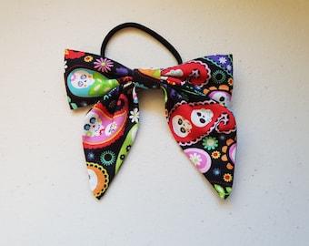 Handmade hair tie with sailor bow - sugar skull paisley