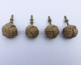 Set of 4pcs Jute Rope Door Knobs-Nautical Beach Seaside Home Decor Rope Knot Drawer Pulls