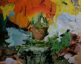 Hanging - (dreamlike imaginary abstract fantasy worlds table collage travel)