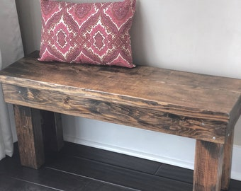 Wood Bench - Rustic - 3 Feet - Mudroom Bench, Entry Bench, Rustic Bench, Farmhouse Bench - Custom Stain