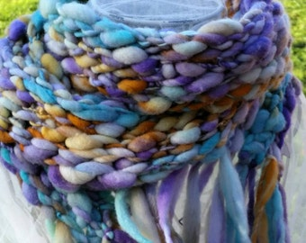 Hand spun Merino wool scarf - hand dyed - Dandelions & Daisies - crocheted scarf made with super bulky yarn