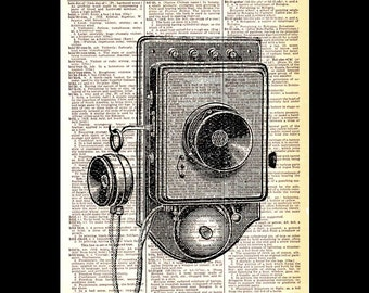 TELEPHONE art print wall decor vintage illustration on upcycled dictionary book page black white industrial technology retro wall phone 8x10
