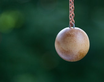 wooden sphere the earth, meditation ball, vintage huge steel shank button on copper coated chain