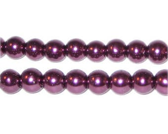 8mm Round Crimson Glass Pearl Bead, approx. 56 beads