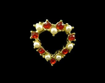 Vintage Heart Brooch Red Stones White Faux Pearls