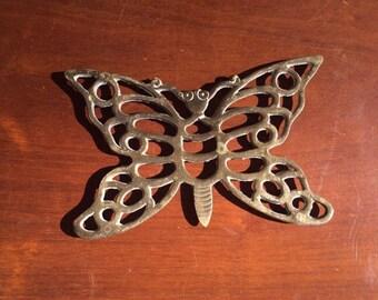 """Small Gold Brass Butterfly Trivet/ Pot Rest, 7"""""""