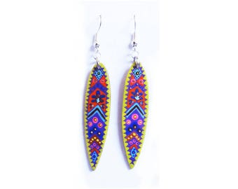 Earrings bamboo leaf painted purple and yellow handmade tribal