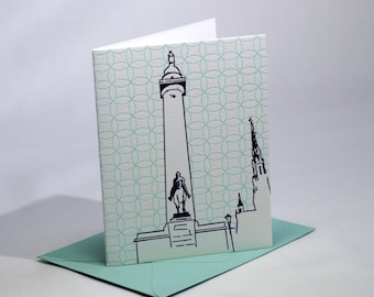 Baltimore Letterpress Card   Washington Monument   purple & turquoise cards   set of 4 blank cards with envelopes