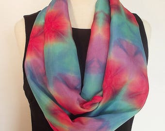 """Hand Dyed Silk Infinity Scarf - 11 x 76"""", Coral, Turquoise, Teal and Lavender - Itajime, Fold Dyed Silk"""