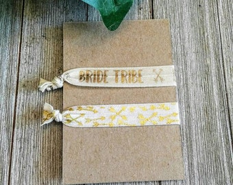 Bride Tribe Hair Ties, Ivory Gold Bridal Hair Ties, Wedding Hair Accessories, Wedding Favors, Bachelorette Party Favors, Gold Ivory Arrows