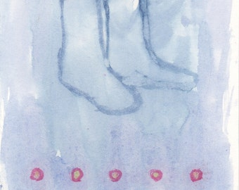Boots with Dots - original small watercolor painting on heavy archival paper, one of a kind - Irene Stapleford - wantknot shop