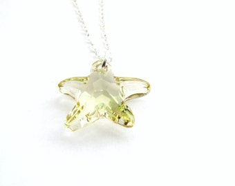 SWAROVSKI® Luminous Green Crystal Starfish Pendant Necklace, Sterling Silver Chain, Simple Minimalist Necklace, SALE, Ready To Ship Gift Box