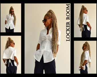 Summer Shirt, Cotton Shirt, Summer Blouse, White Blouse, Snow White Shirt, Asymmetric Blouse