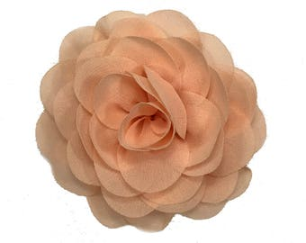 3 inch Chiffon Flower, Wholesale Chiffon Rose Flower Heads for Headbands or Hair Bows, Embellishment, Lot of 1, 2, 5 or 10, Peach