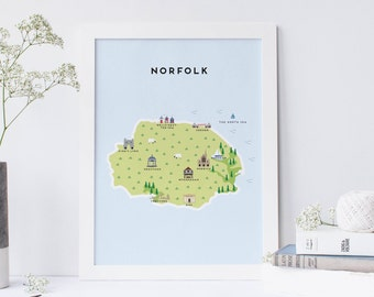 Map of Norfolk - Illustrated Map of Norfolk Print / Travel Gifts / Gifts for Travellers / United Kingdom / Great Britain