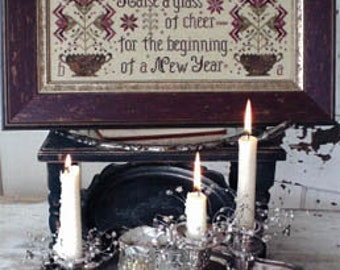 BLACKBIRD DESIGNS Raise A Glass of Cheer counted cross stitch patterns at thecottageneedle.com primitive 2018 Nashville Market