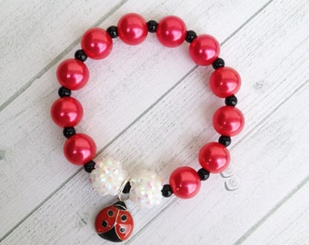"8 Ladybug Charm Bracelet Birthday or Slumber Party Favor 6.25"" Bracelet Cute as a Bug 1st birthday Ladybug birthday Ladybug Baby Shower"