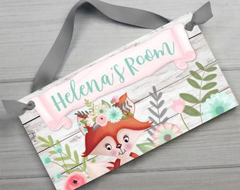 Pink and Aqua Floral Fox Woodland Forest DOOR SIGN Girls Forest Adventure Bedroom Nursery Wall Art Decor Ds0497