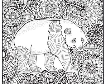 panda coloring page coloring book pages printable adult coloring hand drawn art therapy instant download print
