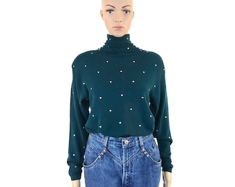 Vintage Designer St. John Green Sweater with Gold Studs