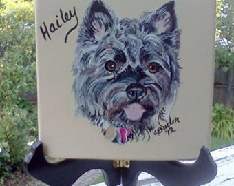 Custom Cairn Terrier Portrait, Disk, pet memorial painting, small disk with pet portrait, easel with pet portrait, cairn terrier