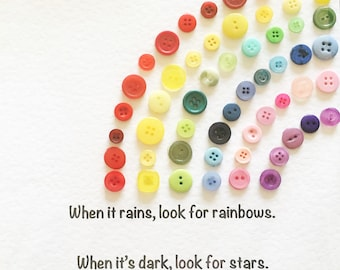 Rainbow button art and quote