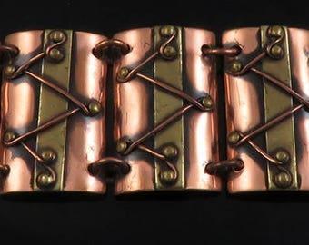 Modernist Haitian Copper & Brass Hand Crafted Chenet d'Haiti Bracelet