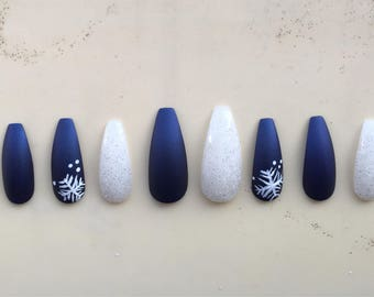 Long blue and snow nails