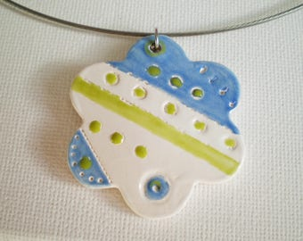 White, blue and green flower pendant handcrafted ceramic