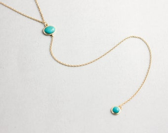 Turquoise Long Necklace, Gold Lariat Necklace, Y Necklace, Turquoise Lariat Necklace, Turquoise Y Necklace, Turquoise Drop Necklace, SN0063