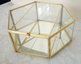 Ready to Ship: Special Price Hexagonal Jewelry Glass Box Gold Finish