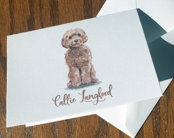 Cockapoo Personalized Stationery, great gift for dog lovers, Cockapoo stationery set 100% Cotton Savoy, custom gifts for dog lovers