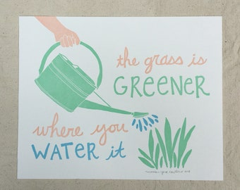 The Grass is Greener Letterpress Print