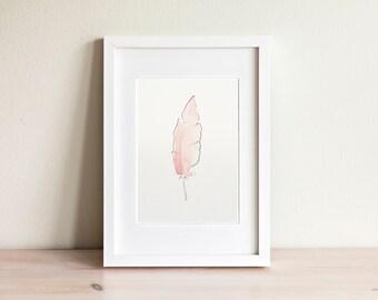 Illustration plume rose, pink feather illustration / fait main, handmade
