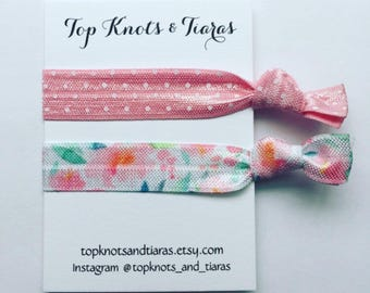 Light Pink Floral Elastic Hair Ties / Set of 2