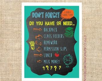 School Reminder Chart for Parents, Kids, Boys, Girls Instant Download