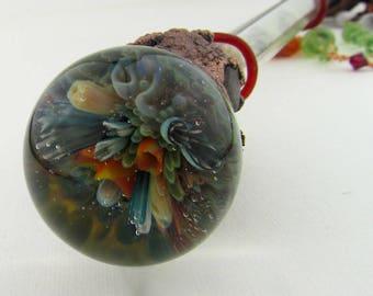 Coral Reef Ocean Glass Magic Wand, Mermaid Cosplay, Boro Heady Glass Wizard Staff, Hand Blown Borosilicate Fantasy Art Glass, Witches Wand