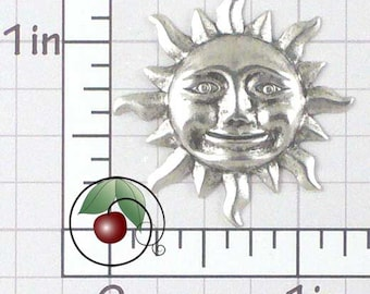 Sun Face Pendant Drop Earring Finding, Happy Sun Face Silver Ox Jewelry Findings, Silver Plated Brass, Jewelry Components, 2 Pcs, 1491so2