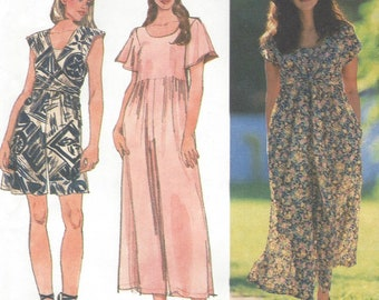 1990s Womens Wide Leg Jumpsuit or Romper with Bodice Variations Simplicity Sewing Pattern 9021 Size 18 20 22 Bust 40 42 44 FF Sewing Pattern