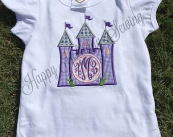 Girls Castle Applique Monogram Shirt