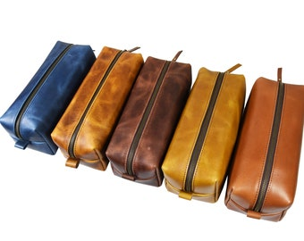 Leather Dopp Kit Groomsmen Gift Customize Leather Toiletry Bag Men's Toiletry Bag Leather Custom Dopp Kit Third Anniversary
