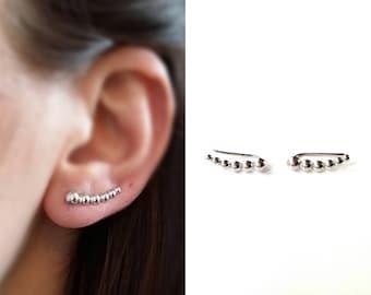 Ear Cuff - Rising Silver 925/000 - earrings ear clips, outlines of lobes - ear cuff 925 sterling silver