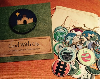 """Gift Set: Jesse Tree """"God With Us"""" Book and Set of Wooden Advent Ornaments"""