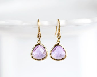 Amethyst earrings Purple earrings Dangle earrings Gold dangle earrings Bridesmaid earrings Briolettes earrings Lilac Crystal earrings 788