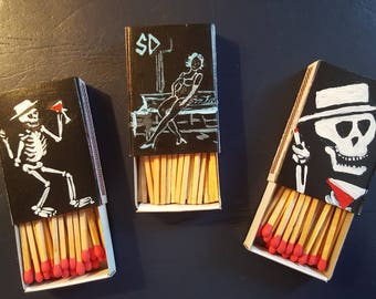 Social Distortion Hand Painted Matchboxes  2 miniature paintings on each total of 6! One of a Kind!
